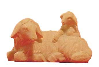 Modern Schaf liegend m.Lamm 11cm natur